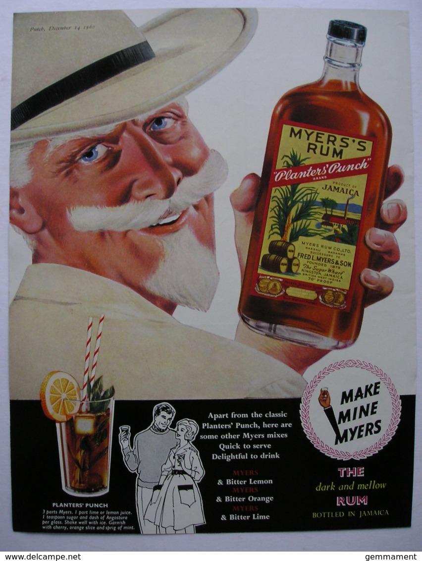 MYERS RUM -ORIGINAL 1960 MAGAZINE ADVERT. - Other