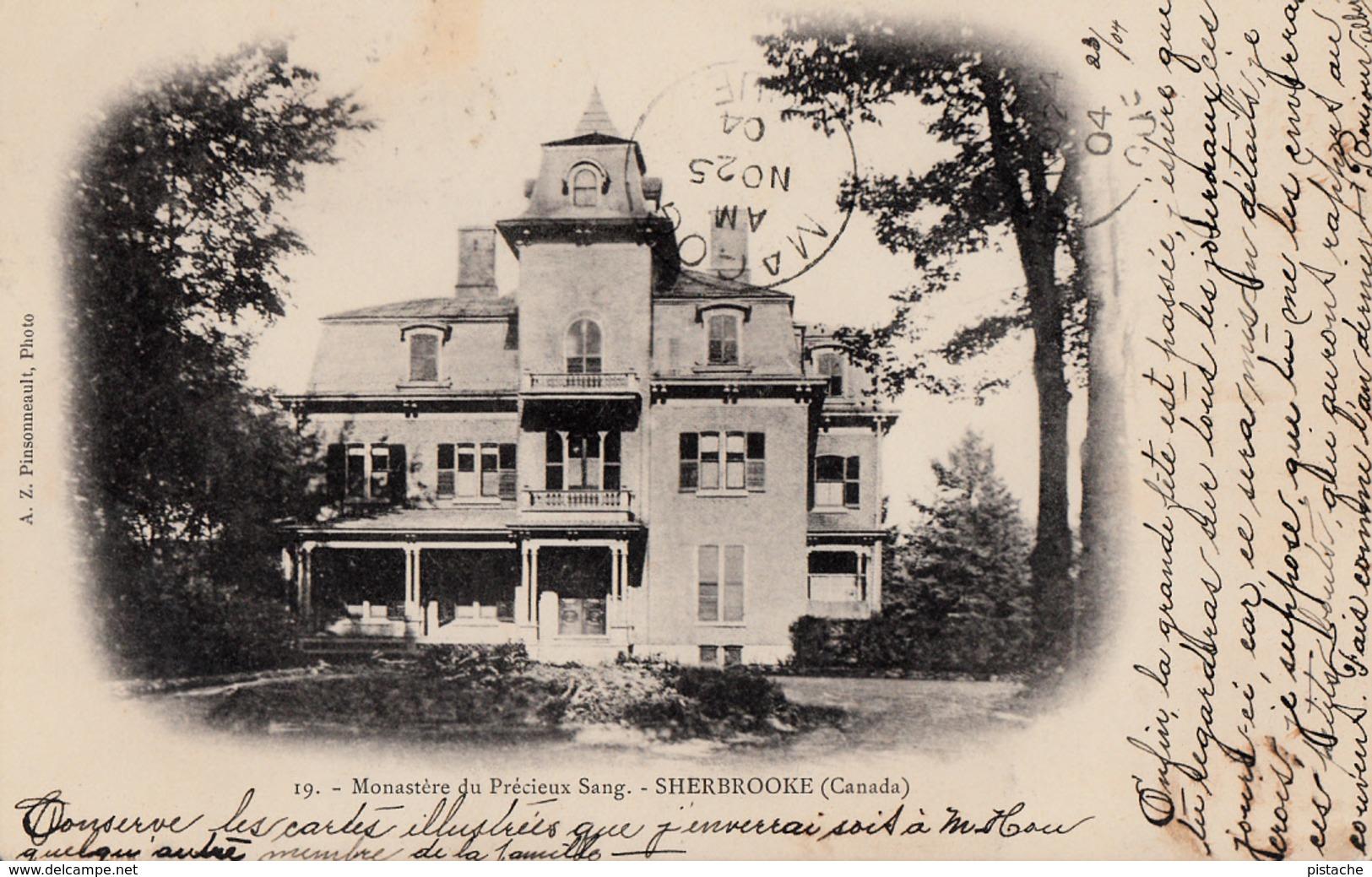Sherbrooke Québec - Monastère Du Précieux-Sang - A.Z. Pinsonneault - Written 1904 - Dos Simple Back  - 2 Scans - Sherbrooke