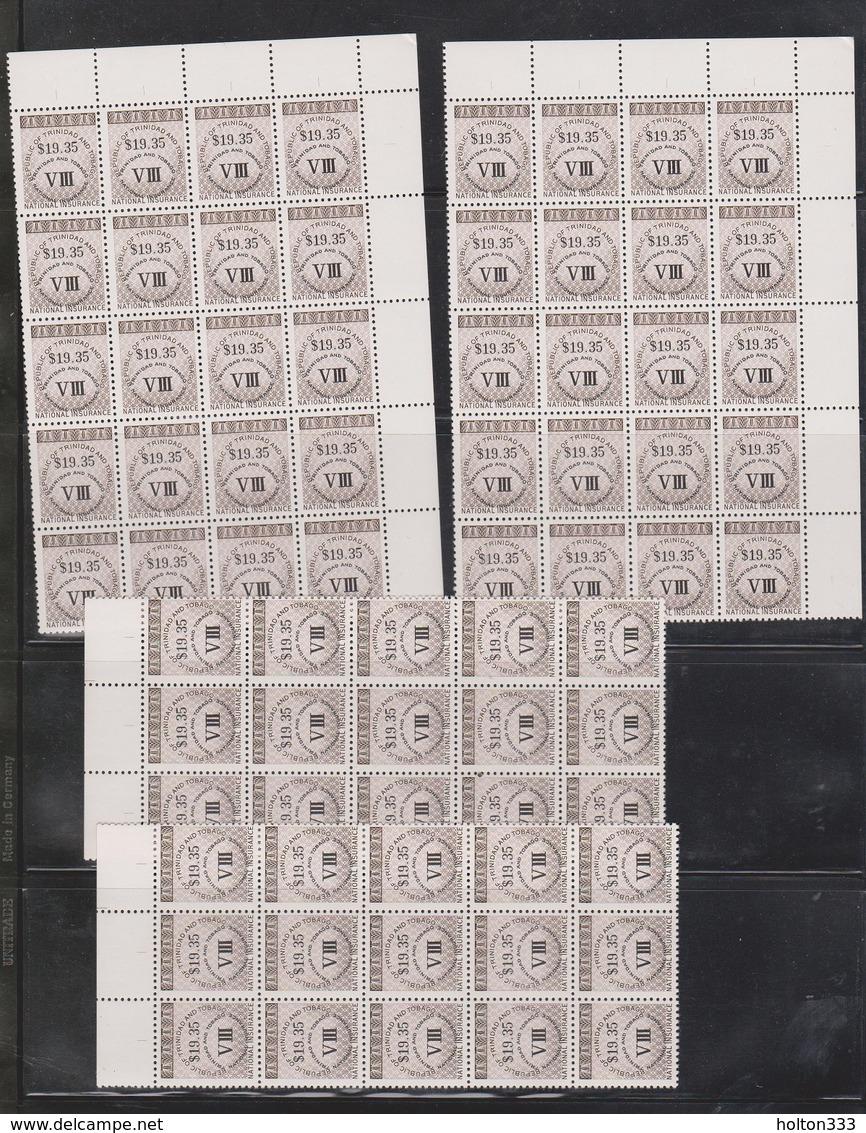 Trinidad & Tobago Wholesale Lot Of National Insurance Stamps 100 Stamps $1935.00 Face - Trinidad & Tobago (1962-...)