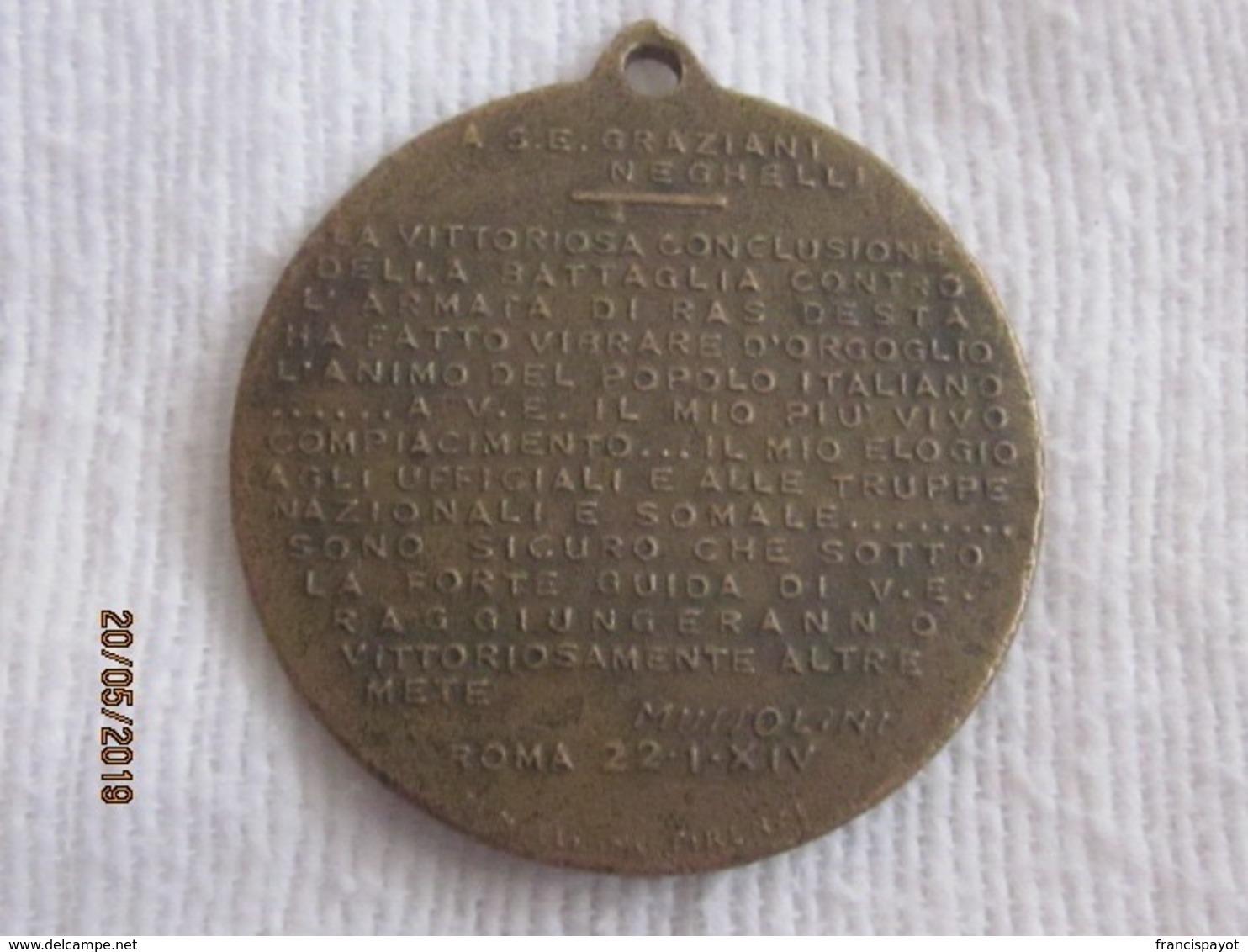 Italia: Medaglia Battaglia Di Neghelli 1936 - Militari