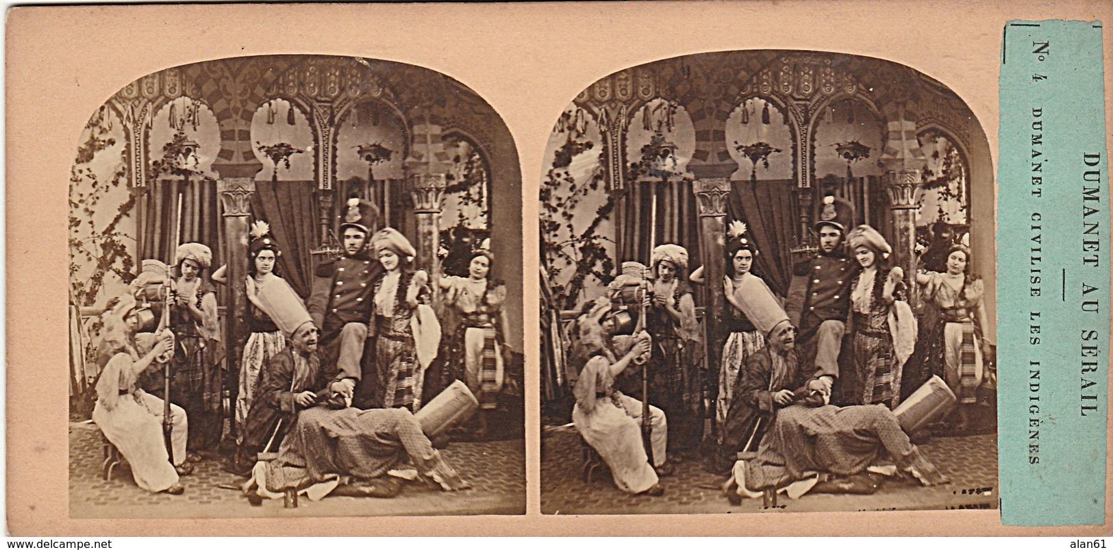 PHOTO STEREO 19 Eme DUMANET AU SERAIL DUMANET CIVILISE LES INDIGENES  N° 4 Humour épisode De La Guerre D' Alger - Stereo-Photographie