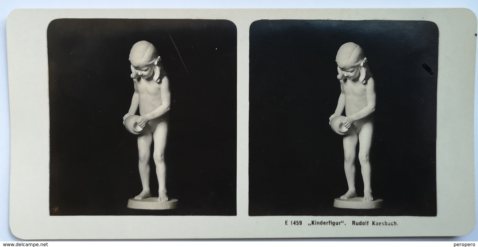 PHOTO STEREOSCOPIC STEREO A CHILDS STATUE KINDERFIGUR   ART  RUDOLF KAESBACH - Stereo-Photographie