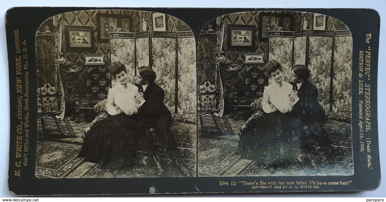 PHOTO STEREOSCOPIC STEREO COUPLE FASHION 1903. - Stereo-Photographie