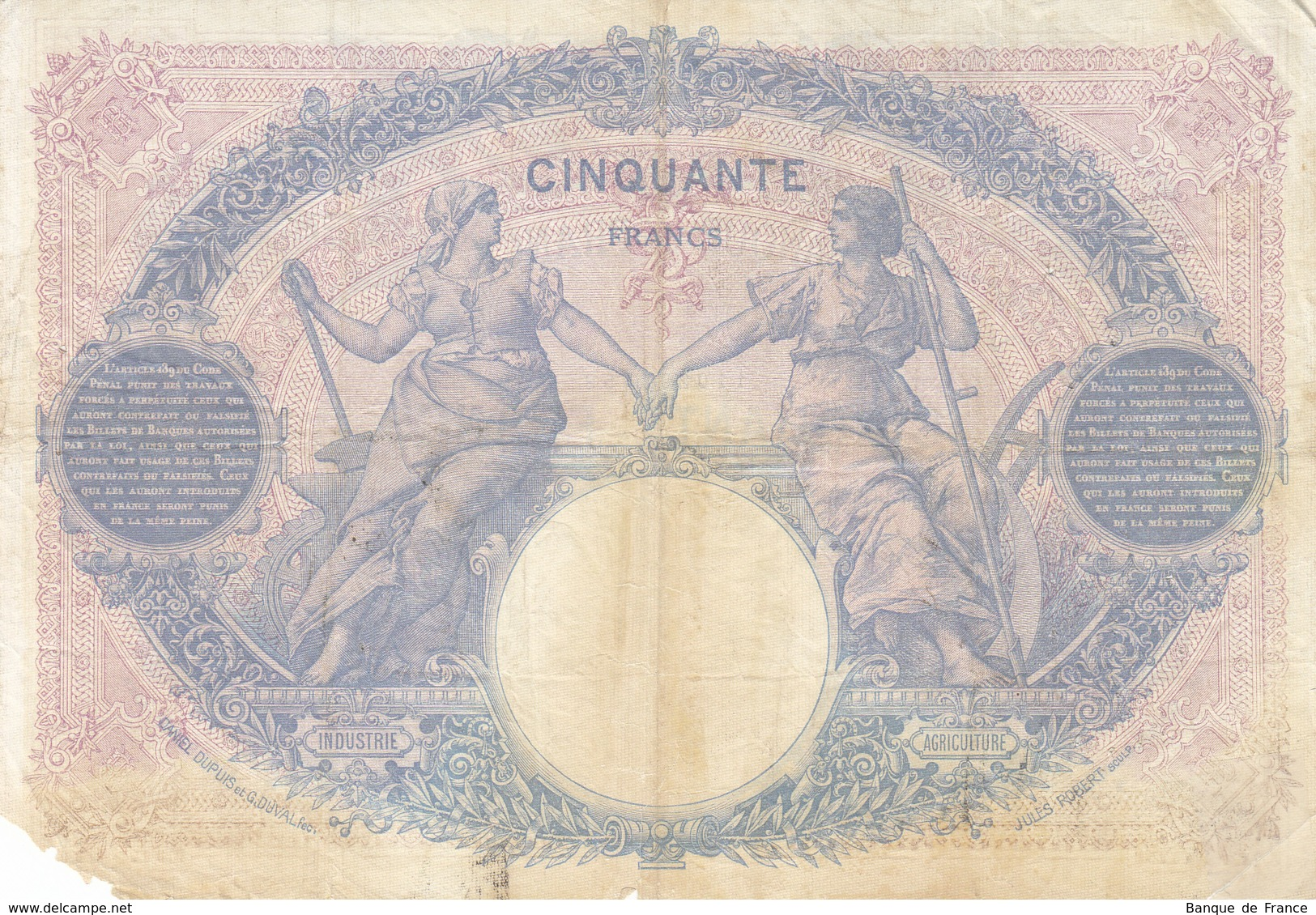 Billet 50 F Bleu Et Rose Du 10-9-1912 FAY 14.25 Alph. Y.4412 - 1871-1952 Circulated During XXth