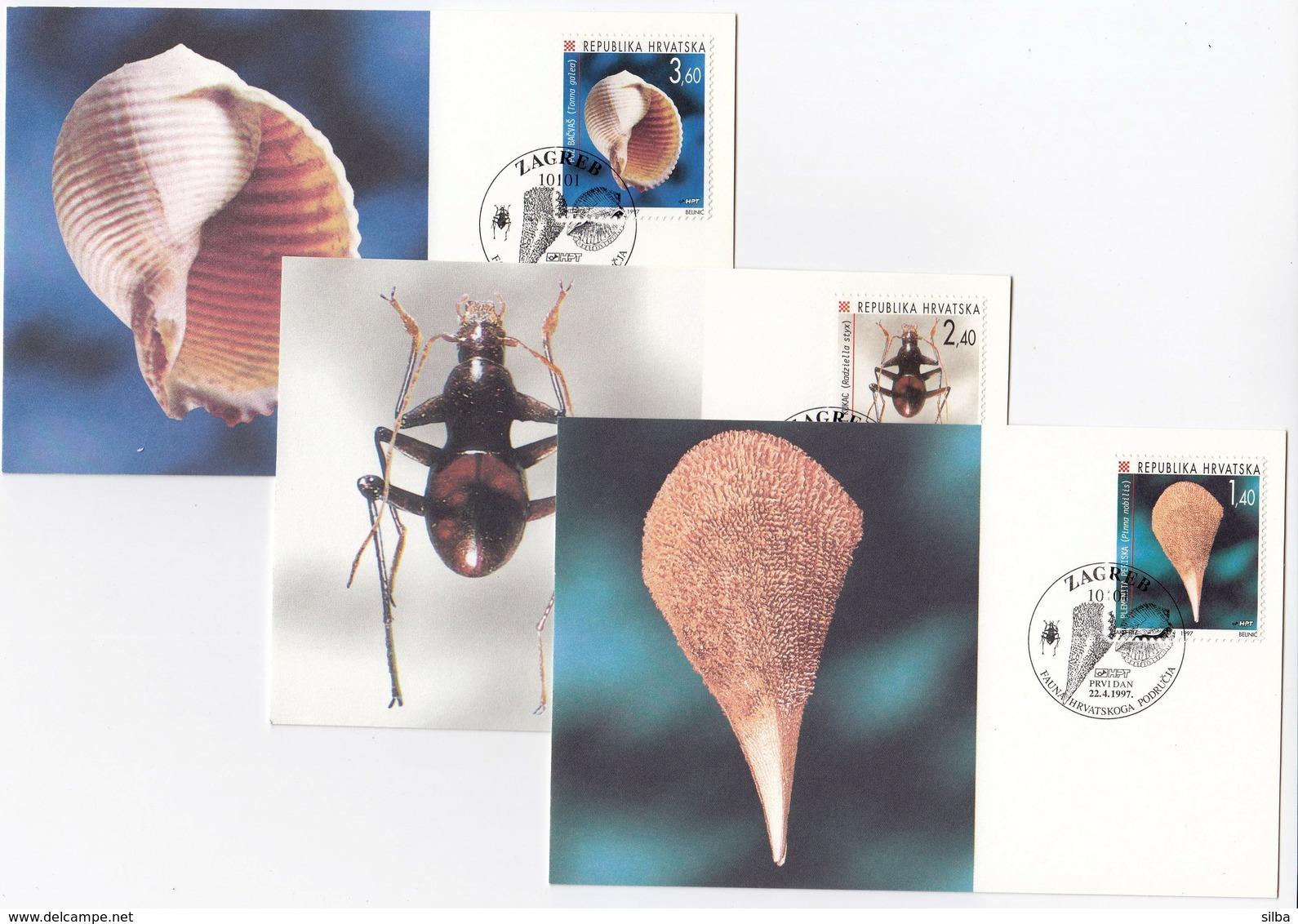 Croatia Zagreb 1997 / Fauna Of Croatian Territory / Noble Pen Shell, Cave Insect, Snail / MC - Croatie