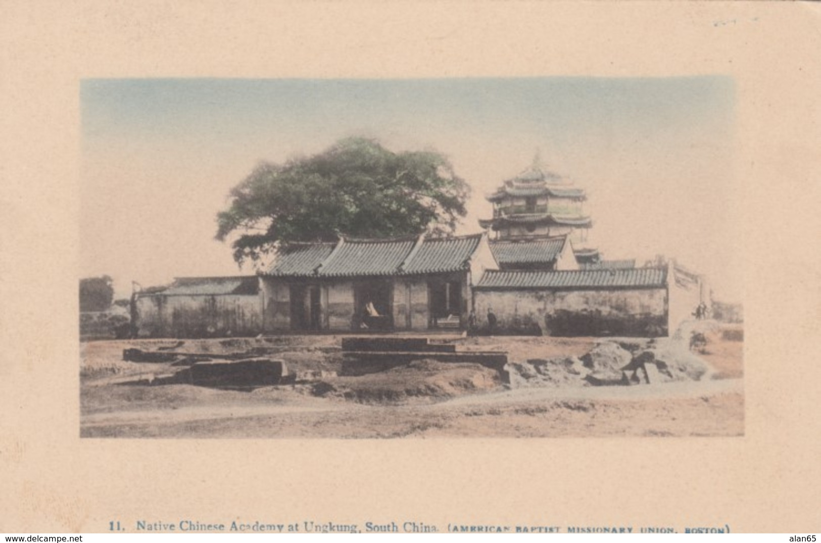 Ungkung South China, Chinese Academy, American Baptist Missionary Issued C1900s/10s Vintage Postcard - China