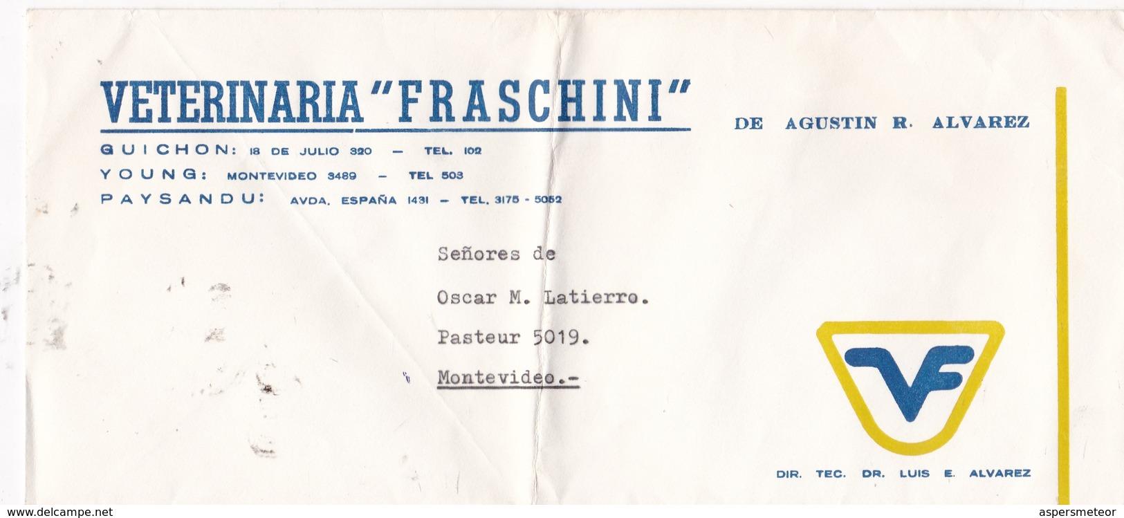 VETERINARIA FRASCHINI - COMMERCIAL ENVELOPE CIRCULEE CIRCA 1980s URUGUAY - BLEUP - Uruguay