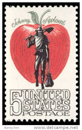 1966 USA Johnny Appleseed Stamp Sc#1317 American Folklore Apple - Cultures