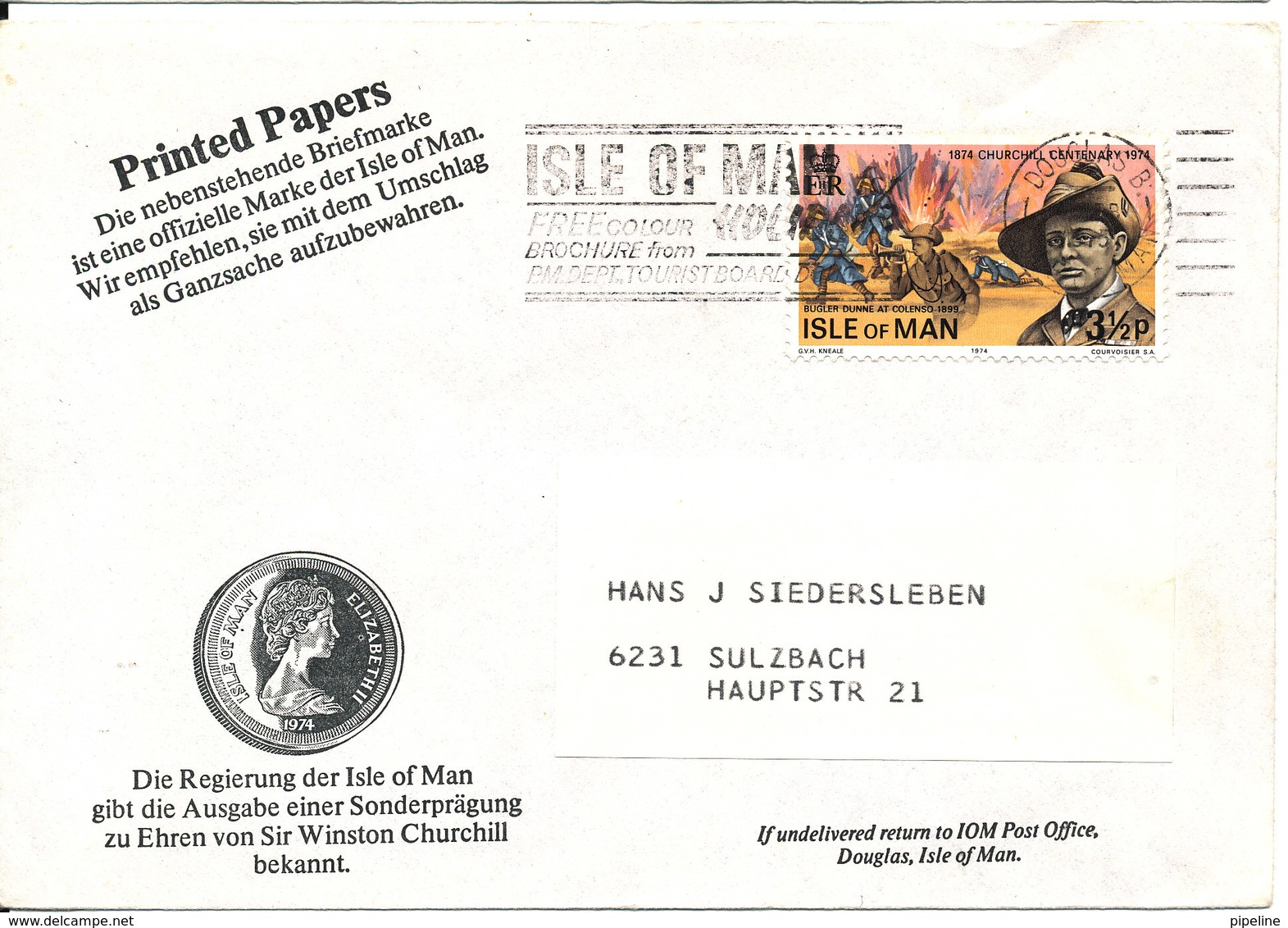 Isle Of Man Cover Sent To Germany 4-2-1975 - Isle Of Man