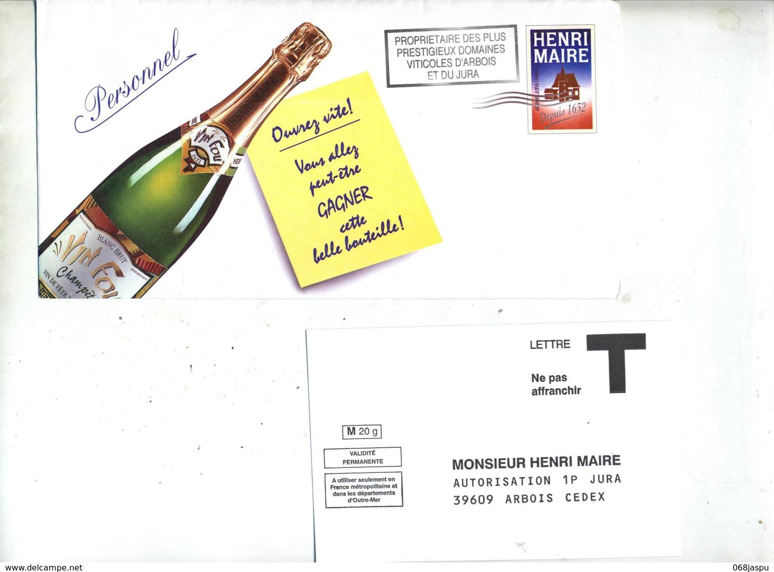 Pseudo Entier Vin Henri Maire Flamme Muette  Arbois Jura + Enveloppe Reponse T - Postal Stamped Stationery
