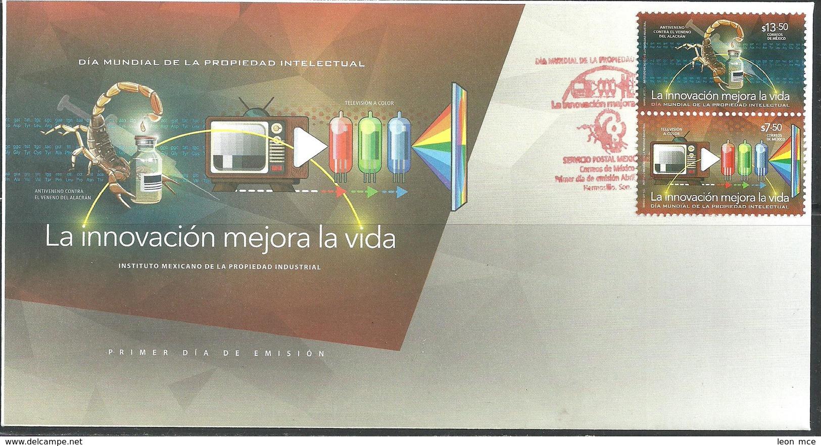 2017 MÉXICO FDC, PROPIEDAD INTELECTUAL, WORLD INTELLECTUAL PROPERTY DAY, SCORPION, COLOR TELEVISION, HEALTH - Mexico