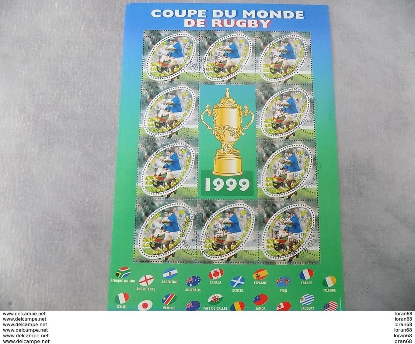 Bloc Feuillet Oblitéré 1er Jour France 1999 : Coupe Du Monde De Rugby 1999 - Blocs & Feuillets
