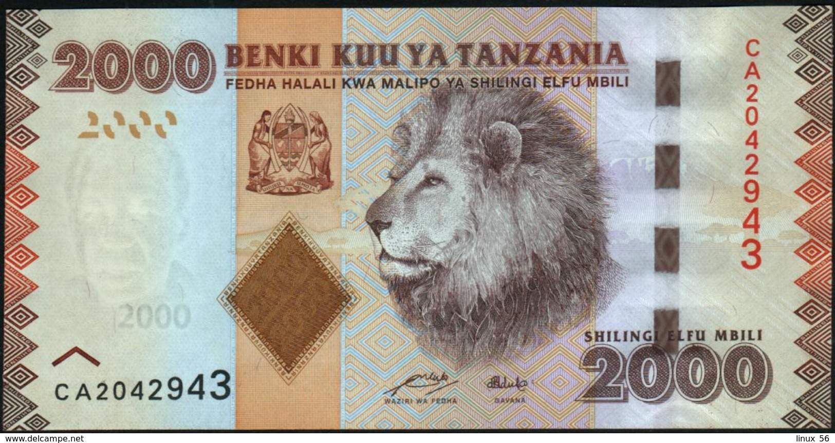 TANZANIA - 2.000 Shilingi Nd.(2010-2015) UNC P.42 A - Tanzania