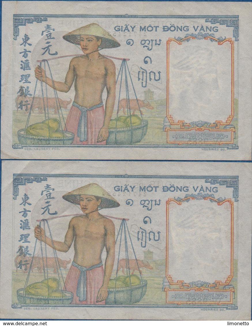 INDOCHINE - 2 Billets De Une Piastre ( Numéros A La Suite- (W.9885 - 589 Et 590 )  Bon état  Voir Scans - Indochine