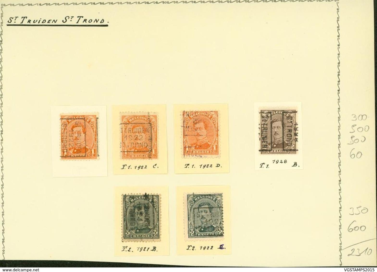 BELGIQUE PREOS ST TROND 1-2-3C 1921-1928 POS A,B,C,D VAL CAT 2310 FB MONTE SUR FEUILLE (DD) DC-3336 - Precancels
