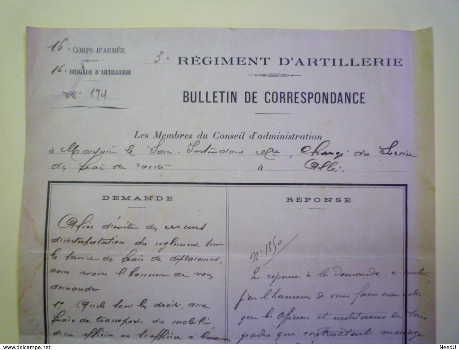 GP 2019 - 1271  3è Régiment D'ARTILLERIE  :  Bulletin De Correcpondance  1911   XXX - Documents
