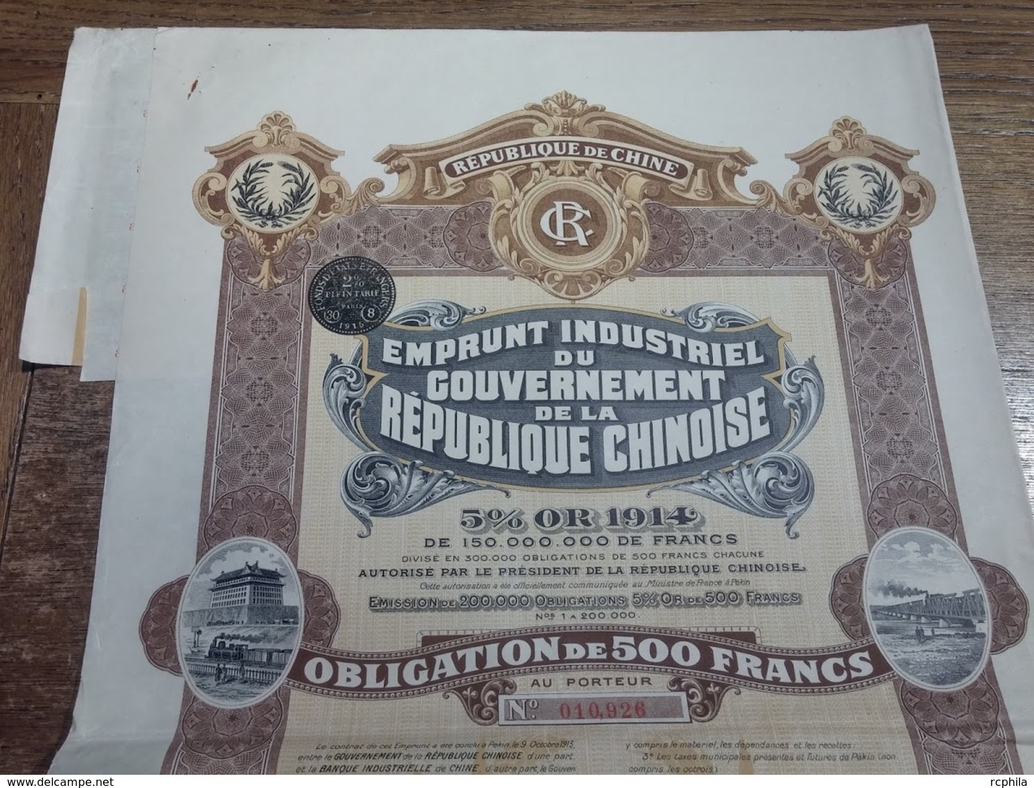 RC 12680 CHINE 1915 ACTION EMPRUNT INDUSTRIEL CHINESE GOVERNMENT OR GOLD 500FRS - Asie