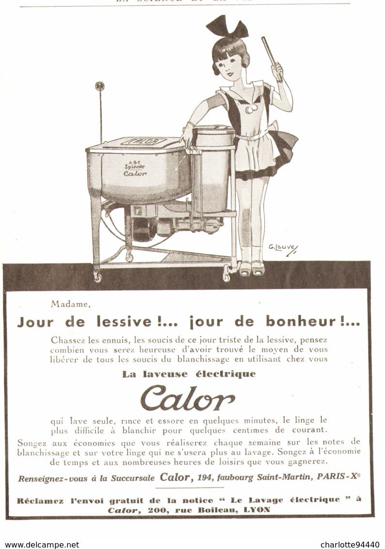 """PUB LAVEUSE ELECTRIQUE """" CALOR """" Par G.LAUVE   1933 ( 1 ) - Other"""