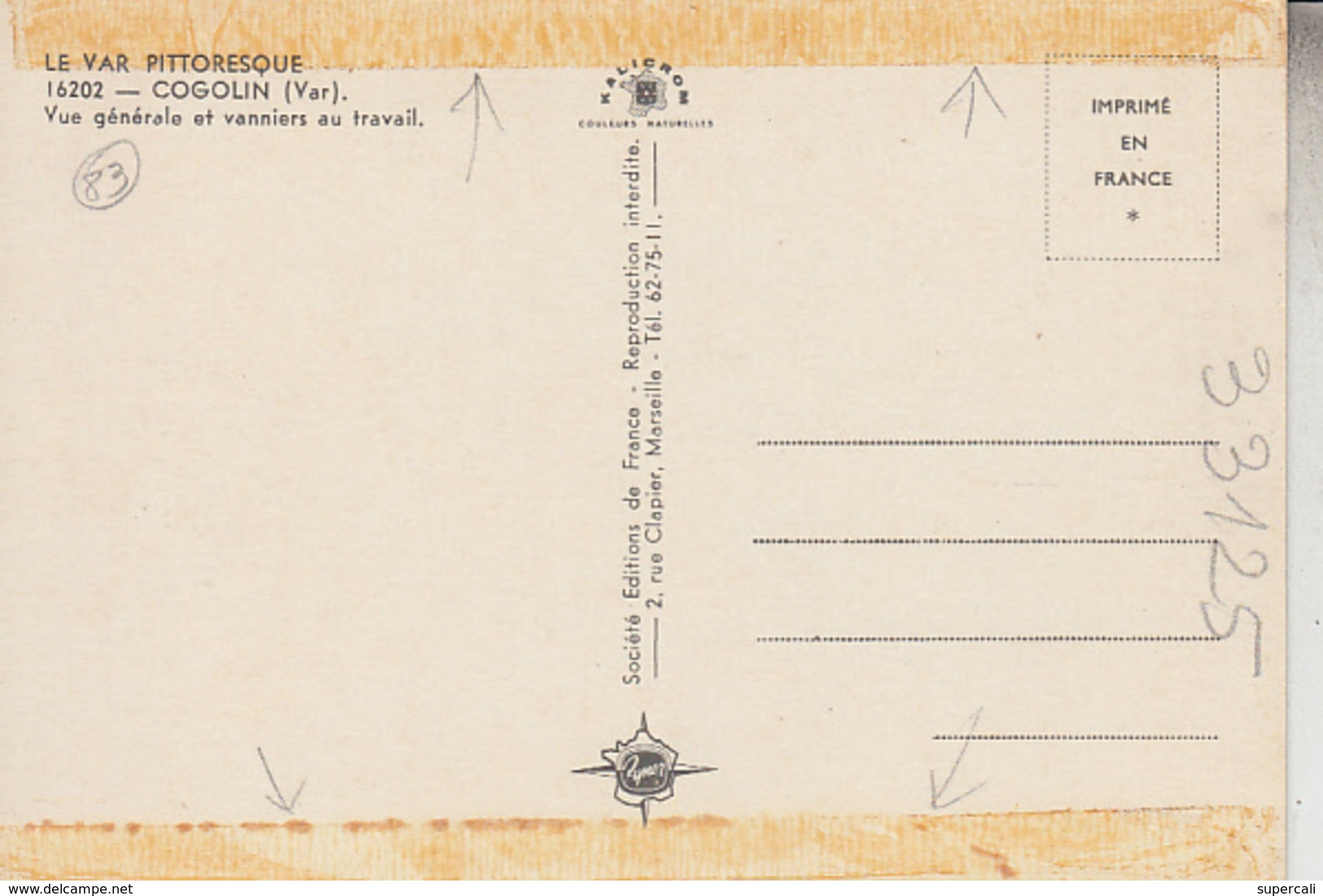 RT33.125  VAR .COGOLIN.VANNIERS AU TRAVAIL  N° 16202 EDITIONS DE FRANCE - Artisanat
