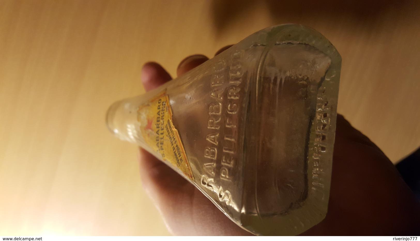 Very Old Bottle Vial Cca 90 Years San Pellegrino Rabarbaro Con Eticeta Etiquette Italia RRR - Glass & Crystal