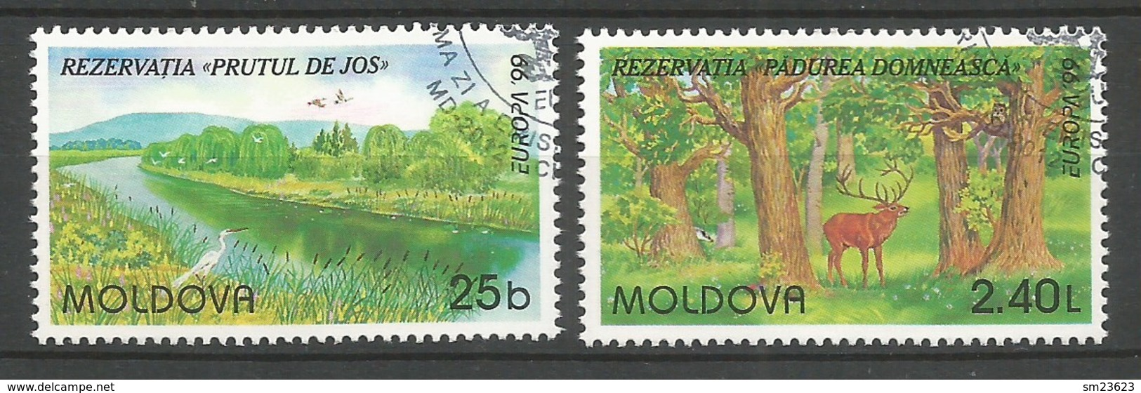 Moldawien / Moldova 1999 Mi.Nr. 305 / 306 , EUROPA CEPT Natur- Und Nationalparks - Gestempelt / Fine Used / (o) - 1999
