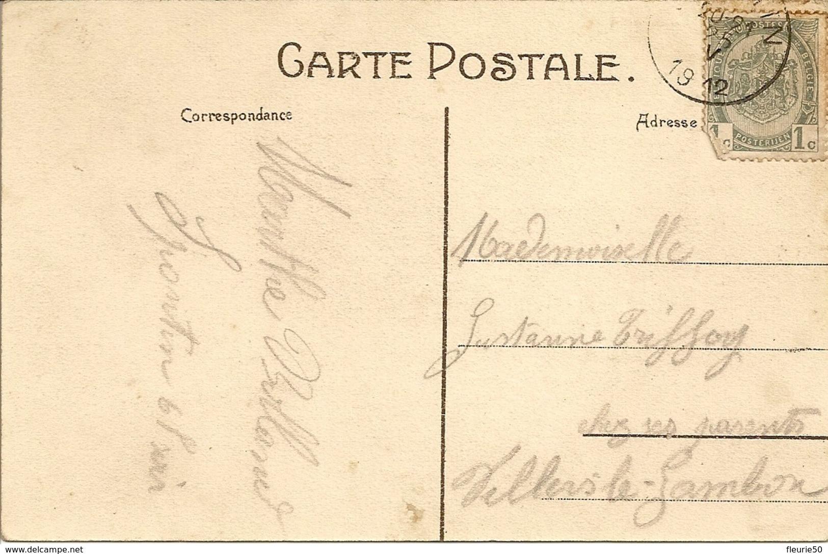 SPONTIN.  Panorama ( La Gare, Le Châteaux, L'église) Oblitération 1912, Vers Villers-le-Gambon. - Yvoir
