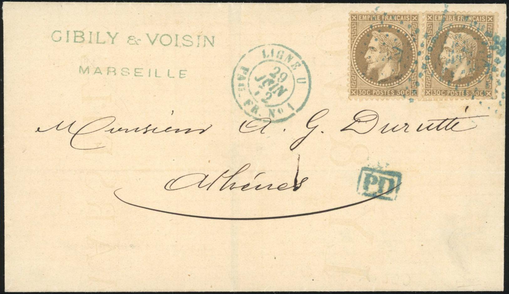 O 30c. Brun-clair X 2 Obl. Ancre Bleue S/lettre Frappée Du Cachet Paquebot Bleu ''LIGNE U PAQ. FR. N°1'' Du 29 Juin 1872 - Frankrijk