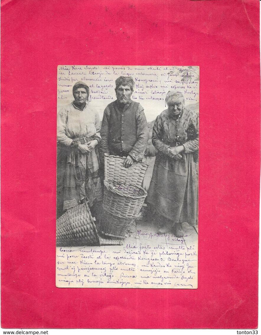 CPA DOS SIMPLE A IDENTIFIER - Portrait De Paysans - O SIMON à JAUCOUR - 10 -  Ecrit En Langue Régionale - ARD - - Cartes Postales