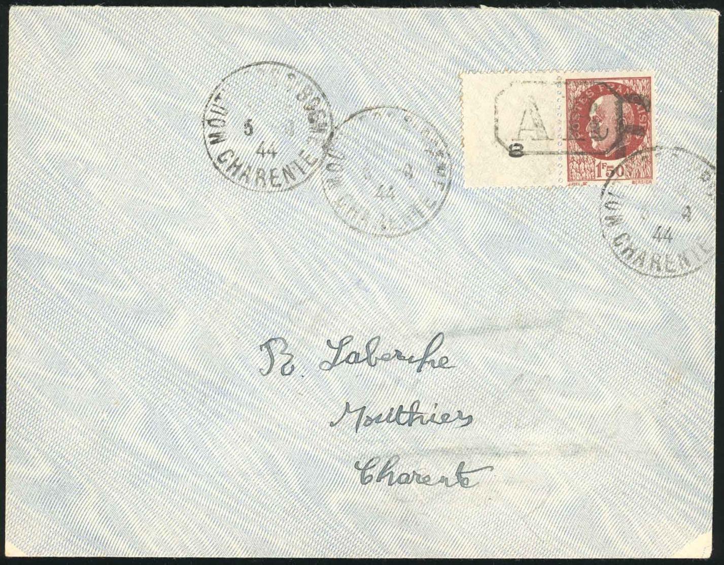O MOUTHIERS-SUR-BOHEME. 1F.50 Brun-rouge, Avec Bord De Feuille, Obl. S/lettre Locale Frappée Du CàD Du 5 Septembre 1944. - Bevrijding