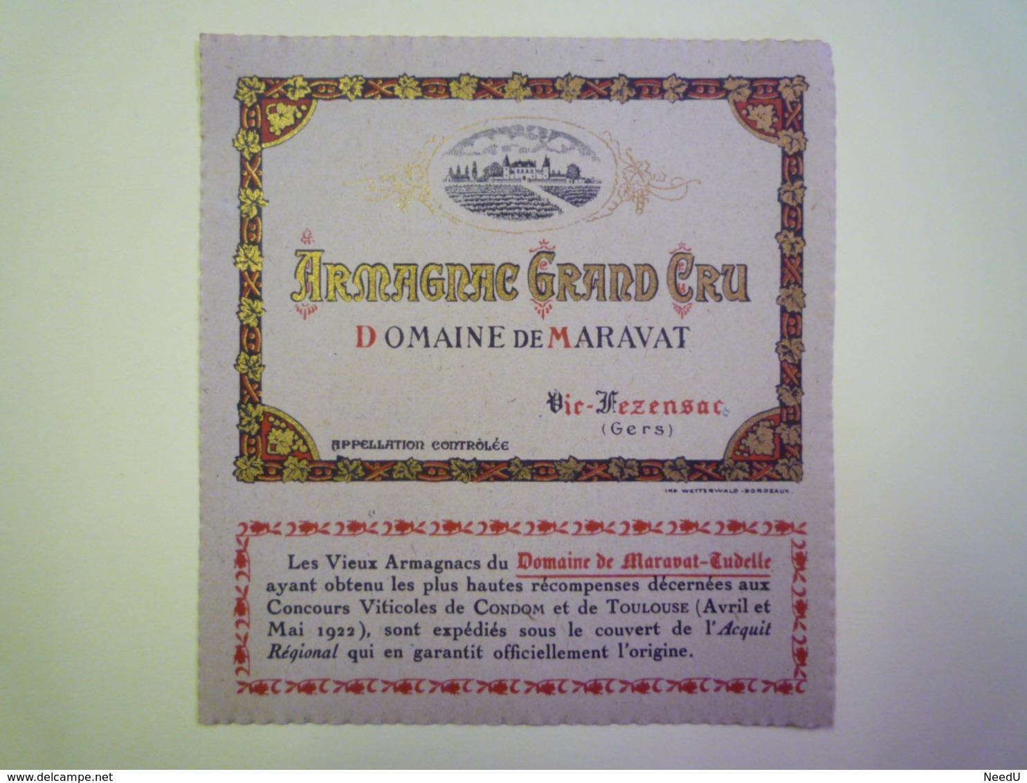 """GP 2019 - 1281  Etiquette   """"ARMAGNAC  GRAND CRU""""  VIC-FEZENSAC  (Gers) Domaine De Maravat  XXX - Old Paper"""