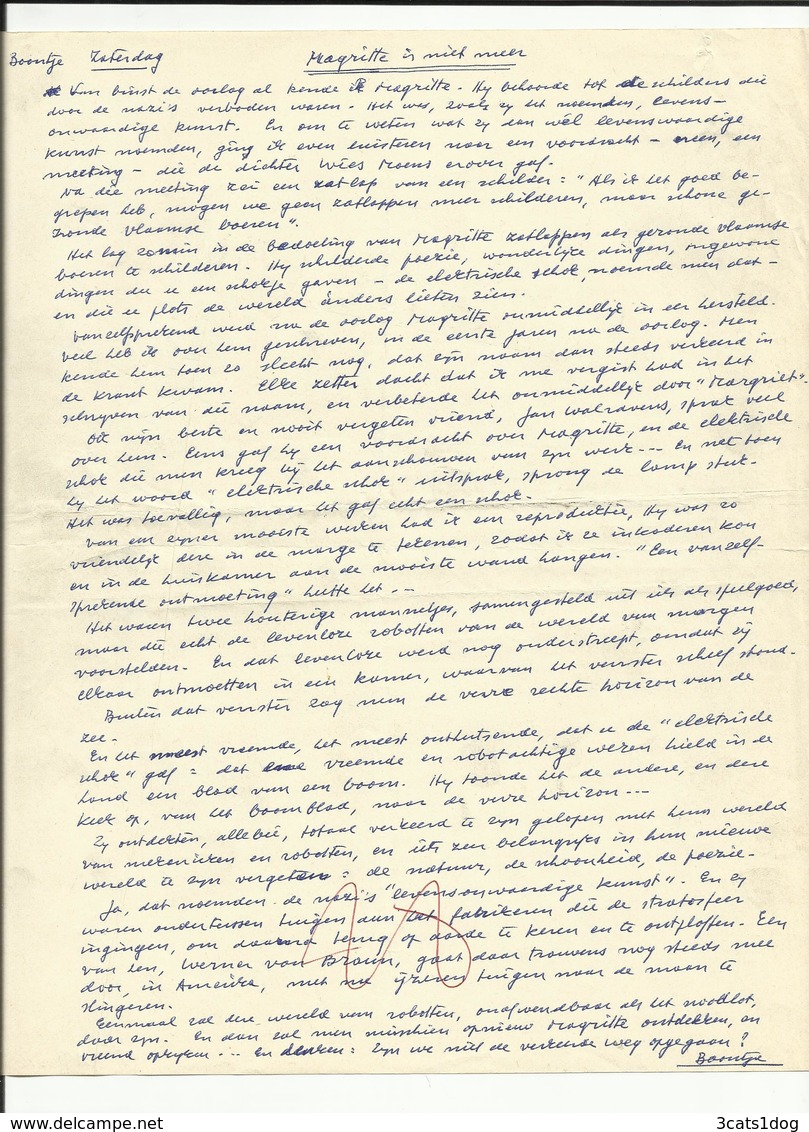 Magritte Is Niet Meer - Boontje Van L.P. Boon - Manuscrits