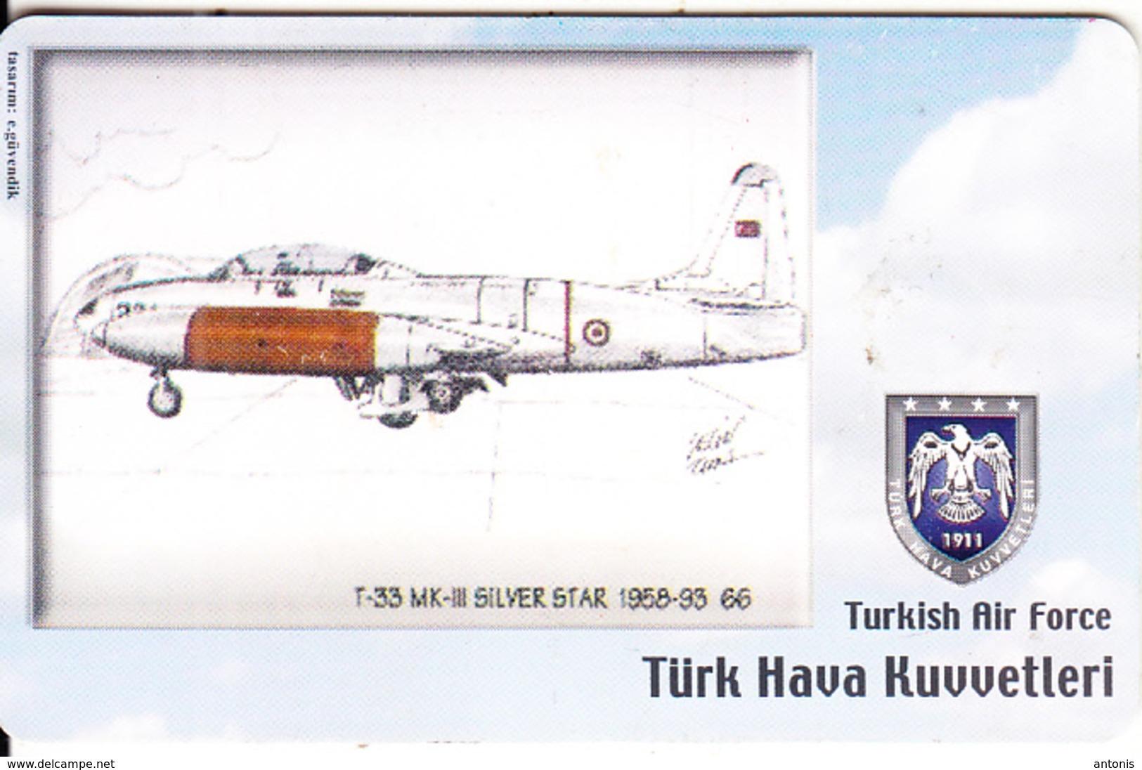 TURKEY(chip) - Airplane, T-33 MK-III Silver Star 1958-93 66(50 Units), Used - Avions