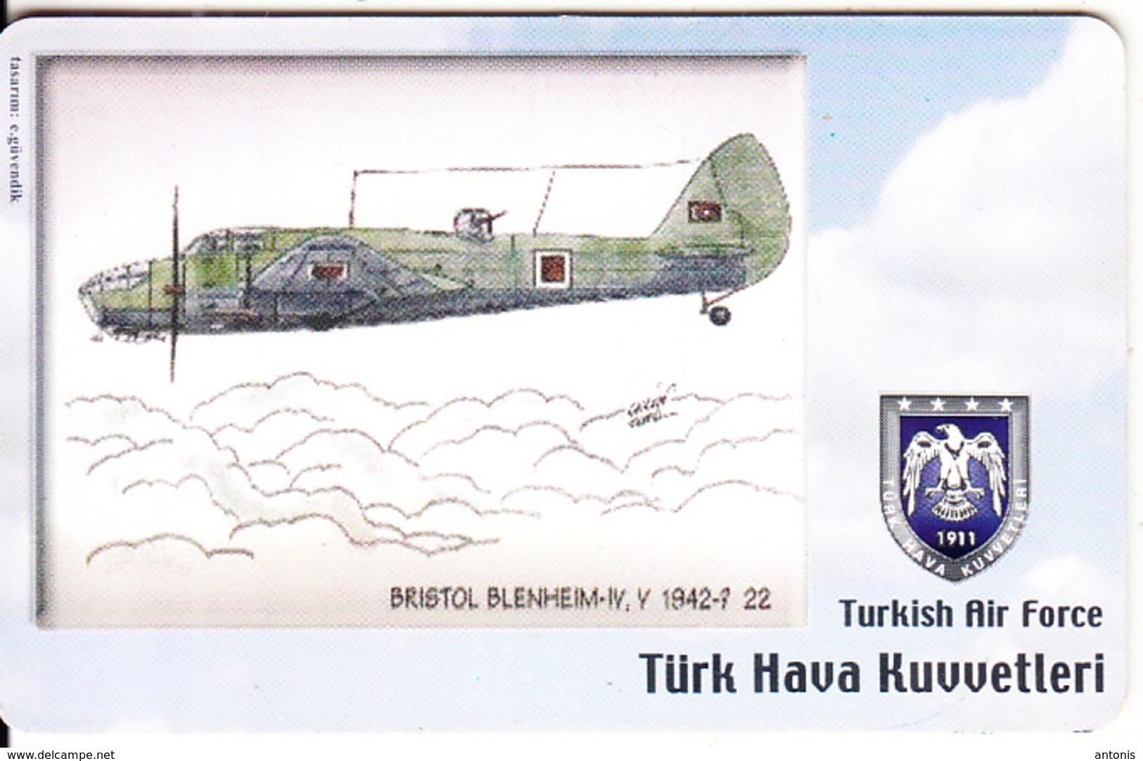 TURKEY(chip) - Airplane, Bristol Blenheim-IV V 1942-? 22(50 Units), Used - Vliegtuigen