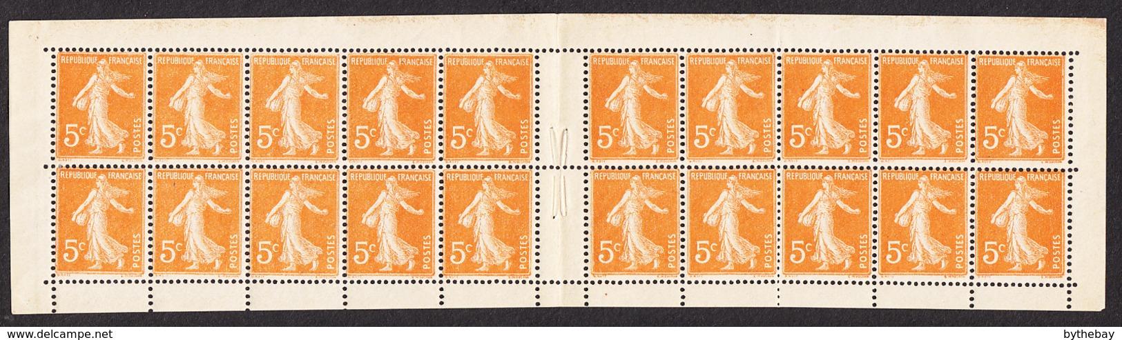 France 1921 MNH Sc 160a 5c Sower, Orange Double Booklet Pane Of 20 - 1906-38 Semeuse Camée