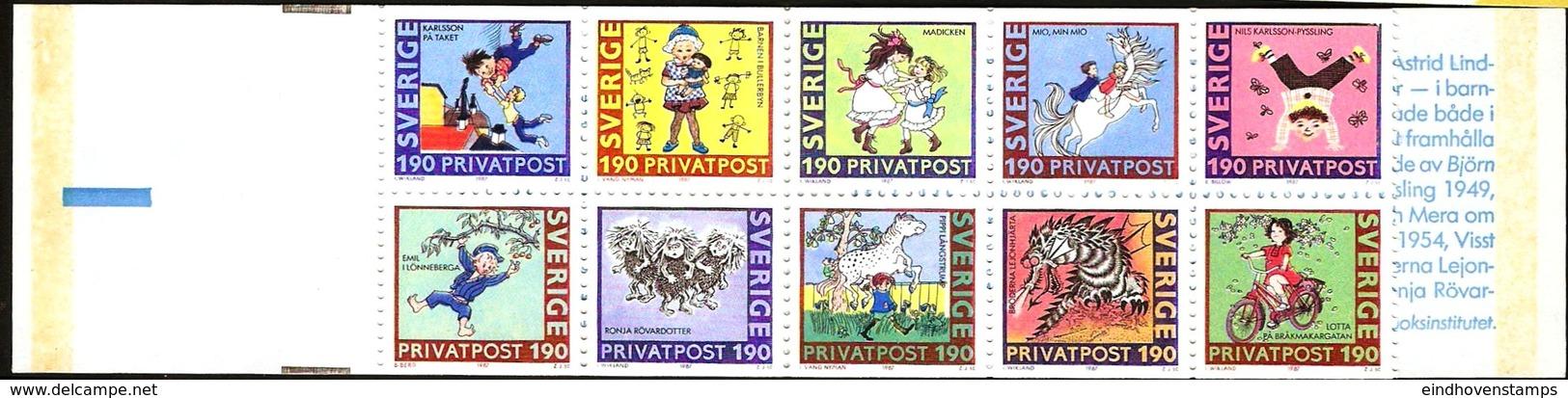Sweden 1987 Birthday Astrid Lindgren Pippi And Stories Stamp Rabat Booklet MNH - Fairy Tales, Popular Stories & Legends
