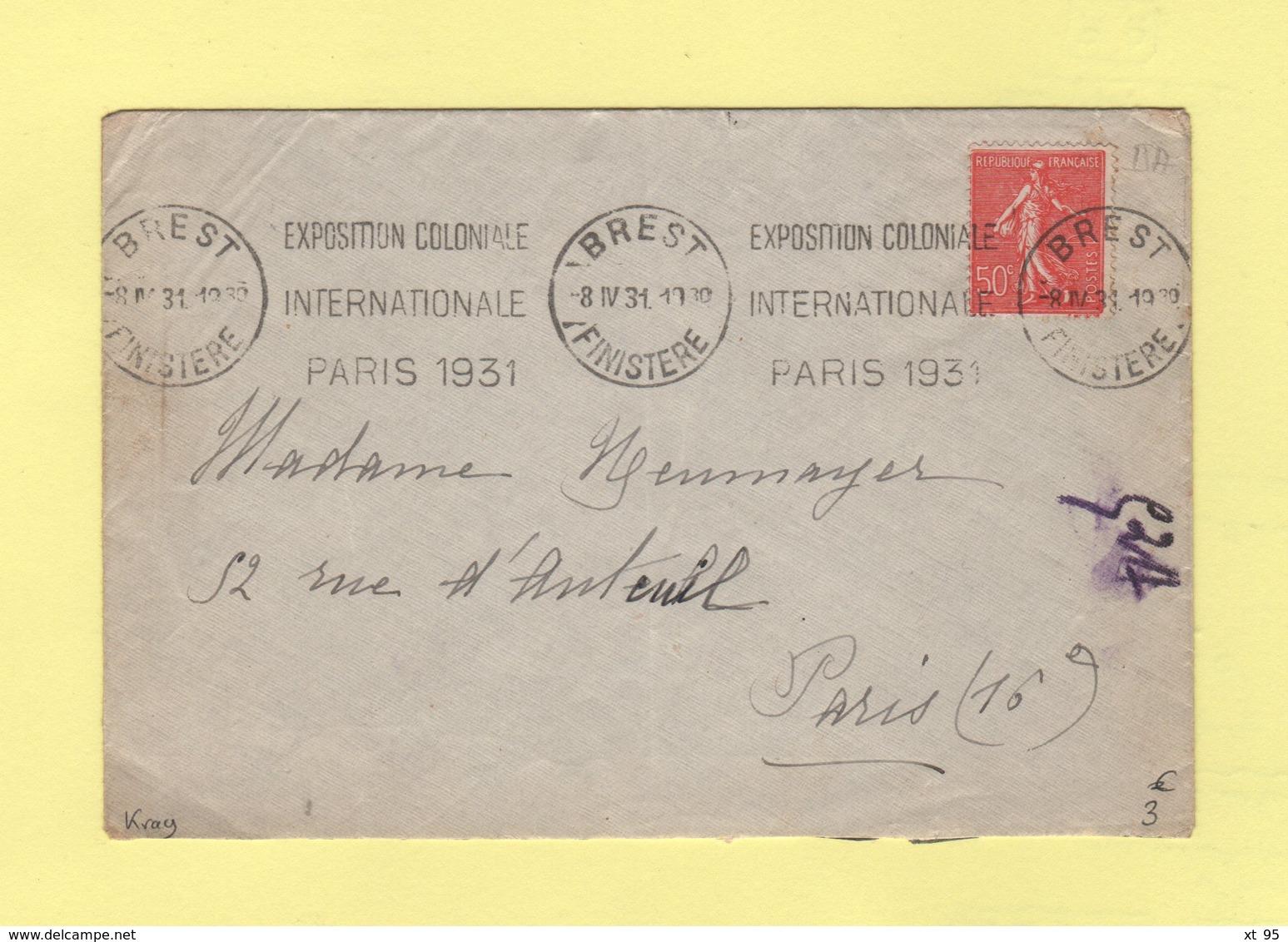 Krag - Brest - Exposition Coloniale Internationale Paris 1931 - Postmark Collection (Covers)