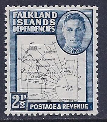 Falkland Islands, Scott # 1L13 MNH Map Of The Islands, 1949 - Falkland Islands