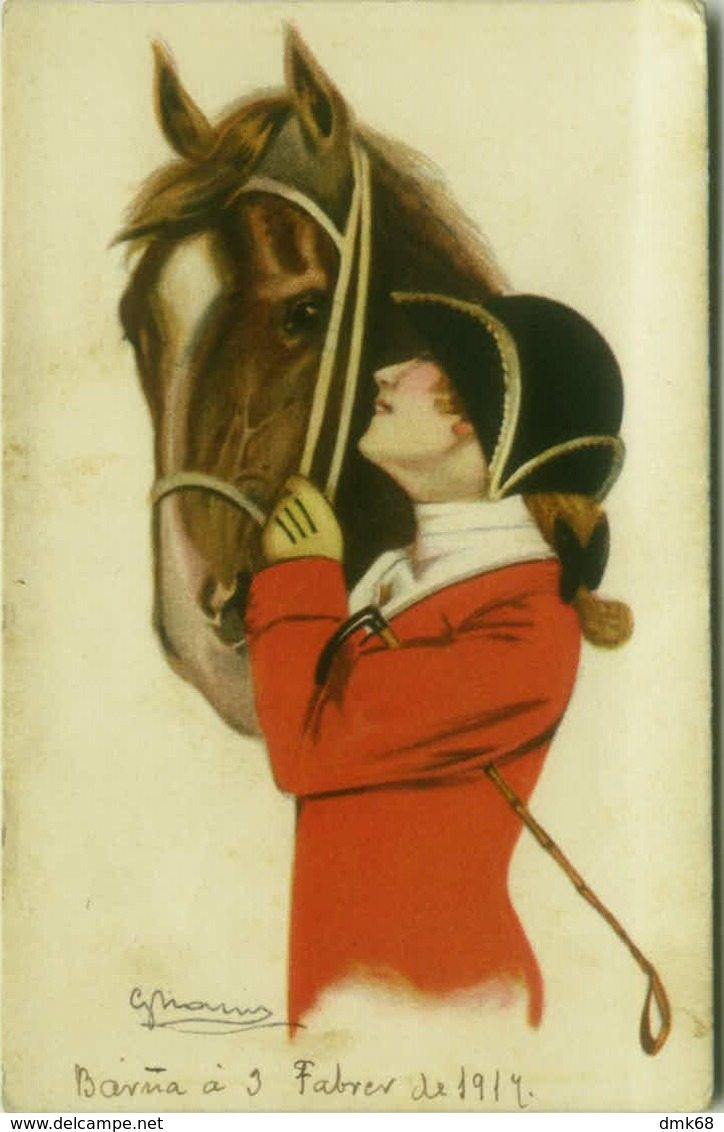 NANNI SIGNED 1910s  POSTCARD - WOMAN & HORSE - 150/4 (BG352) - Nanni