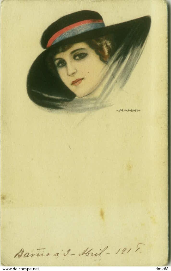NANNI SIGNED 1910s  POSTCARD - WOMAN & BLACK HAT - 21/2 (BG355) - Nanni