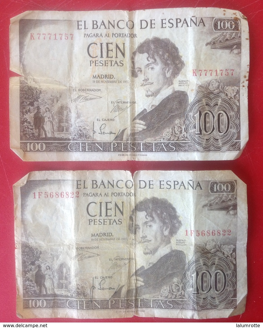 Billet. 9. Espagne. 2 X 100 Pesetas De 1965 - 100 Pesetas