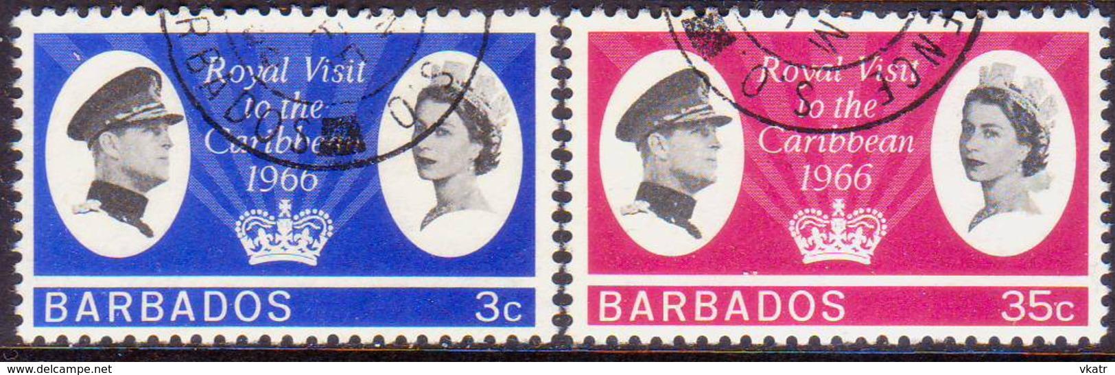 BARBADOS 1966 SG #340-41 Compl.set Used Royal Visit - Barbades (...-1966)