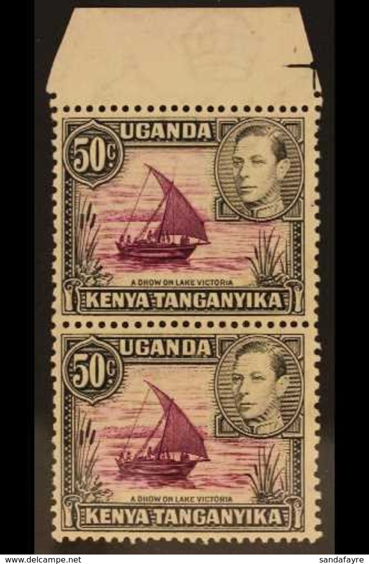 1938 (perf 13 X 11.75) 50c Purple And Black (SG 144), Upper Marginal Vertical Pair, The Lower Stamp With Rope Not Joined - Vide