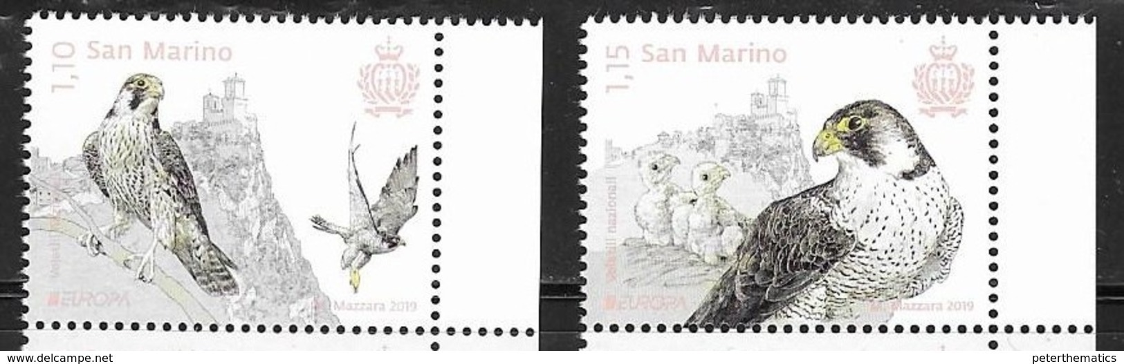 SAN MARINO, 2019, MNH, EUROPA, BIRDS, BIRDS OF PREY, 2v - 2019