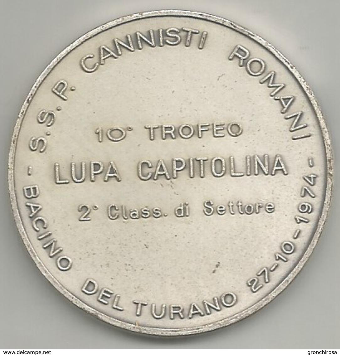 Pesca Sportiva 1974 Bacino Del Turano, 10° Trofeo Lupa Capitolina, Mist. Ag. Gr. 48, Cm. 5. - Italia
