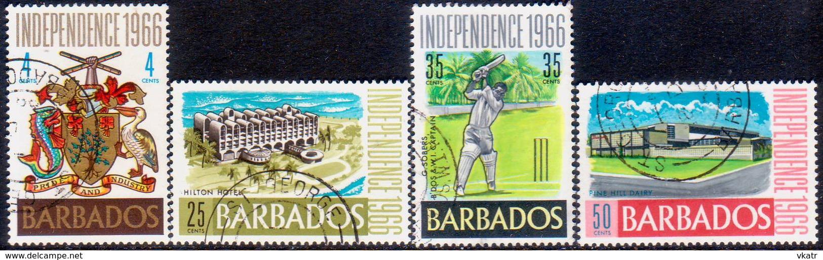BARBADOS 1966 SG #356-59 Compl.set Used Independence - Barbados (1966-...)