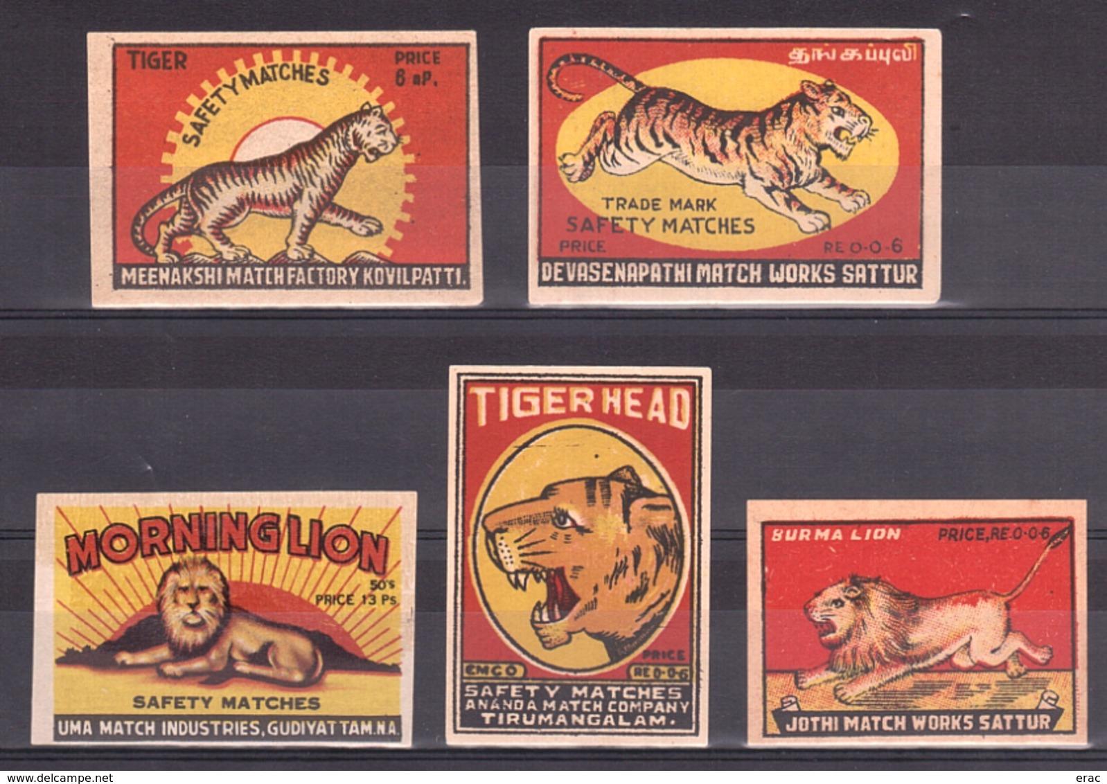 INDE - Lot D'étiquettes De Boîtes D'allumettes - Safety Matches - Morninglion - Tigerhead - Burma Lion - Boites D'allumettes - Etiquettes
