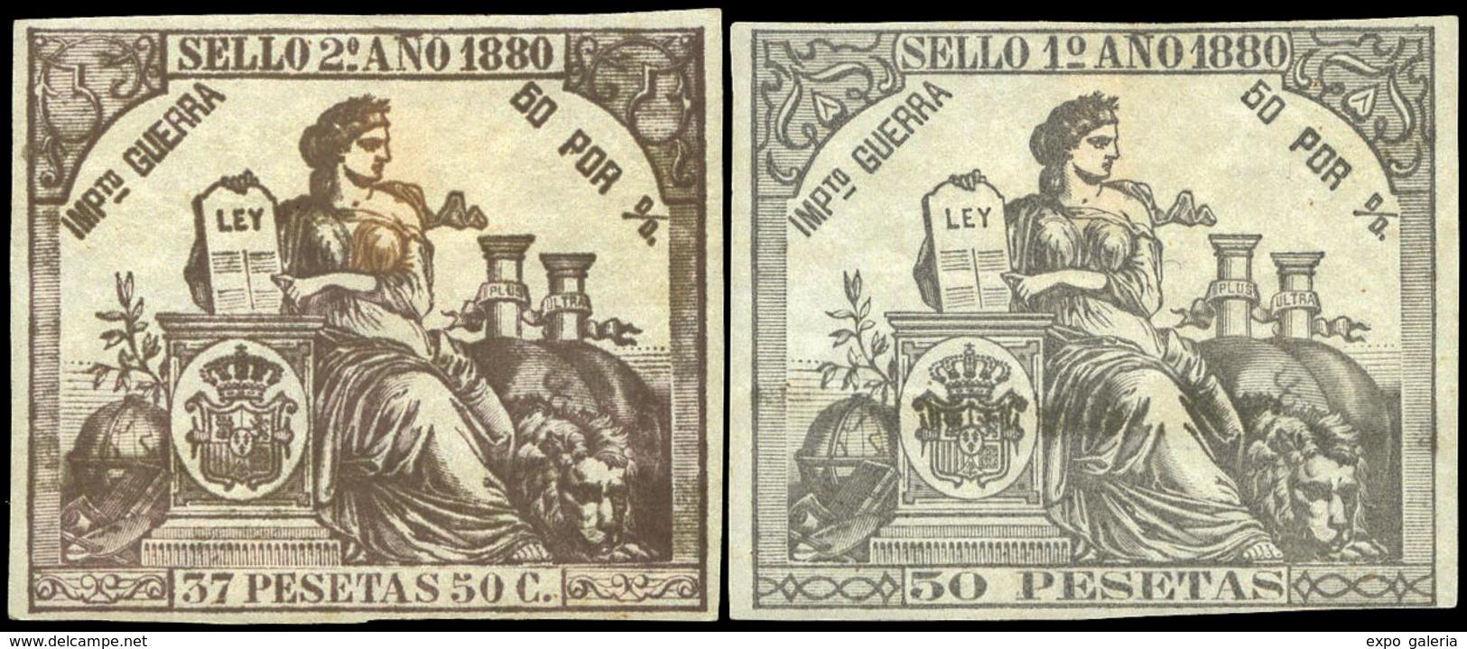 Alemany 217/27 - 1880. Pólizas. 11 Valores. Colores Diversos. Serie Completa. Goma Original. Rara En Esta Condición - Fiscale Zegels