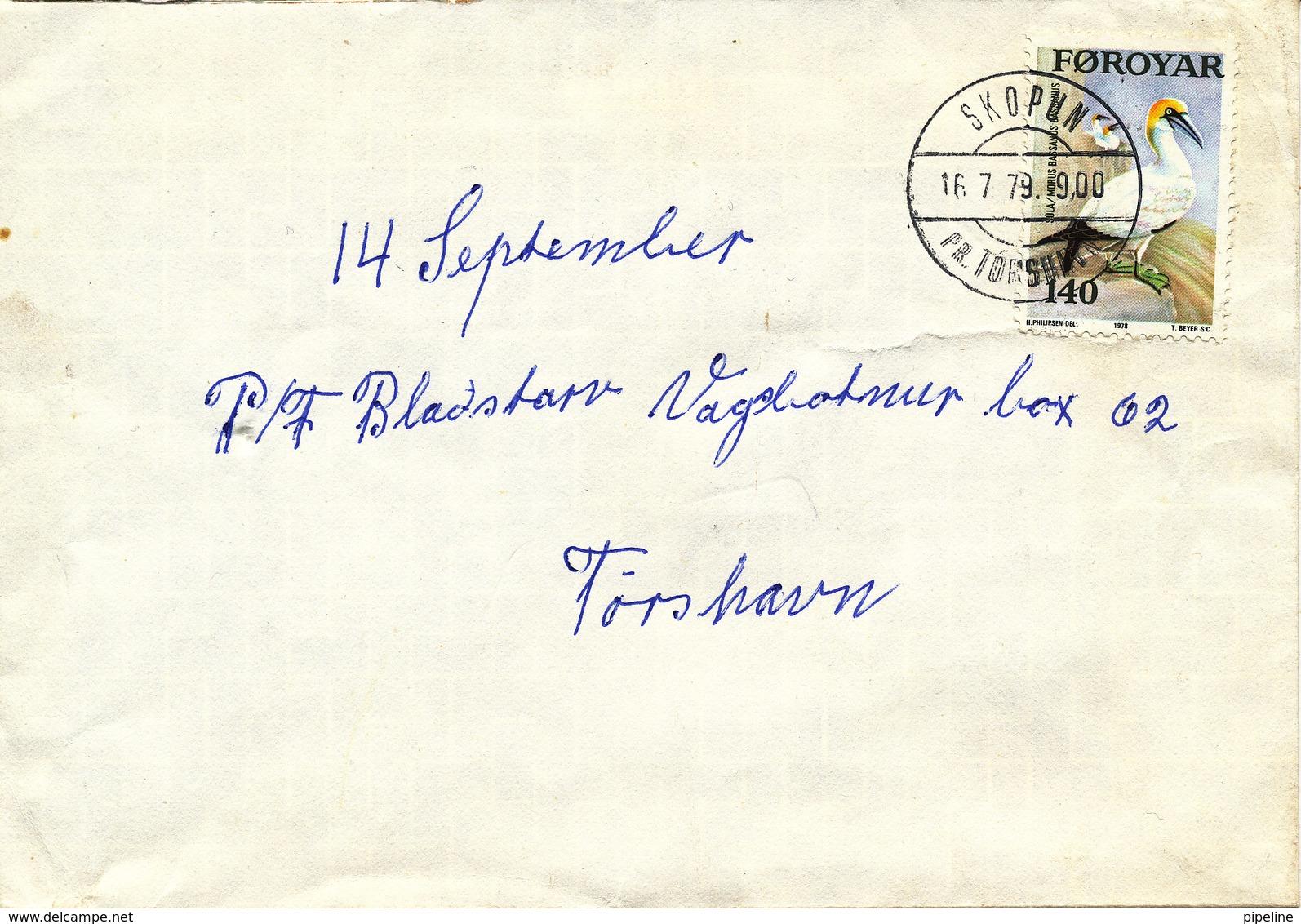 Faroe Islands Cover Skopun 16-7-1979 Single Franked BIRD - Faroe Islands