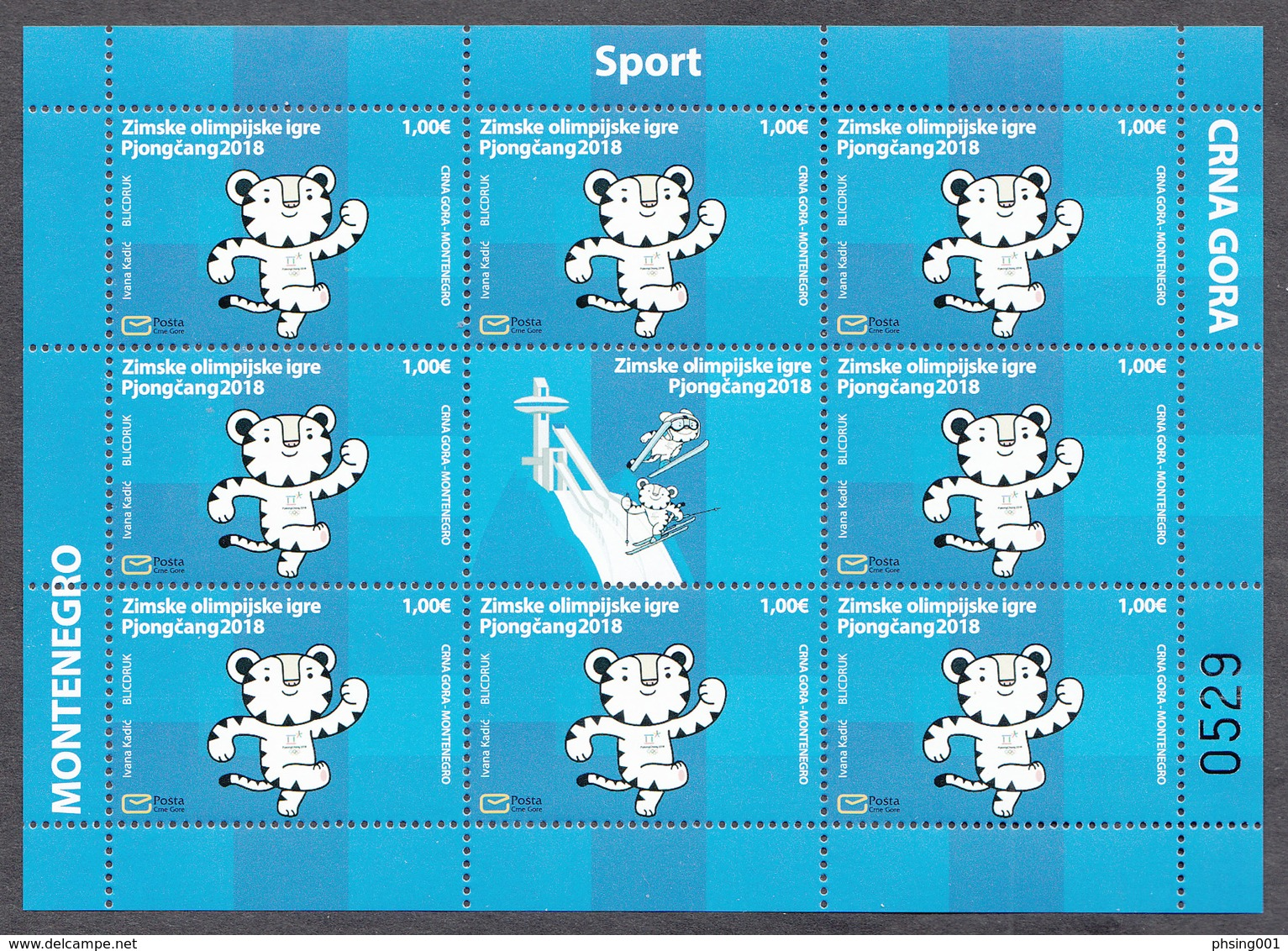 Montenegro 2018 Winter Olympic Games PyeongChang, South Korea, Tiger, Mini Sheet MNH - Winter 2018: Pyeongchang