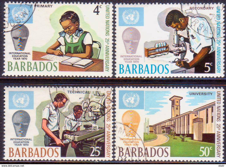 BARBADOS 1970 SG #415-418 Compl.set Used 25th Anniv Of UN - Barbados (1966-...)